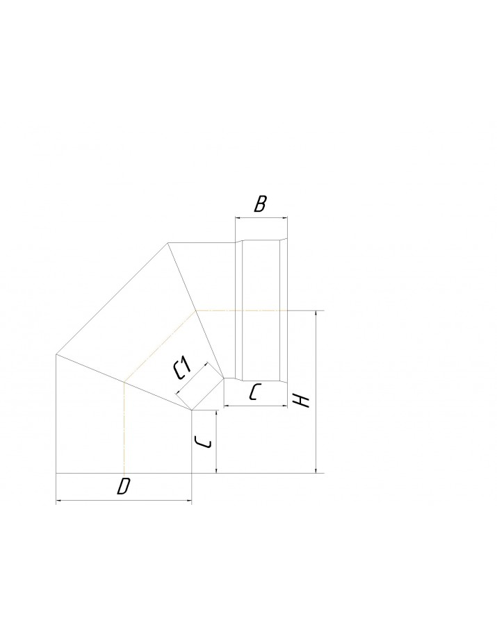 Single wall knee 90° (Eco mono AISI 201) - diameter Ø100, thickness 0,5 mm