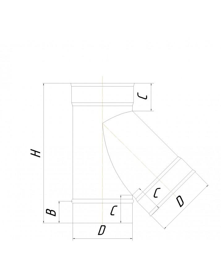 Single wall tee 45° (Premium mono AISI 321) - diameter Ø400, thickness 1 mm
