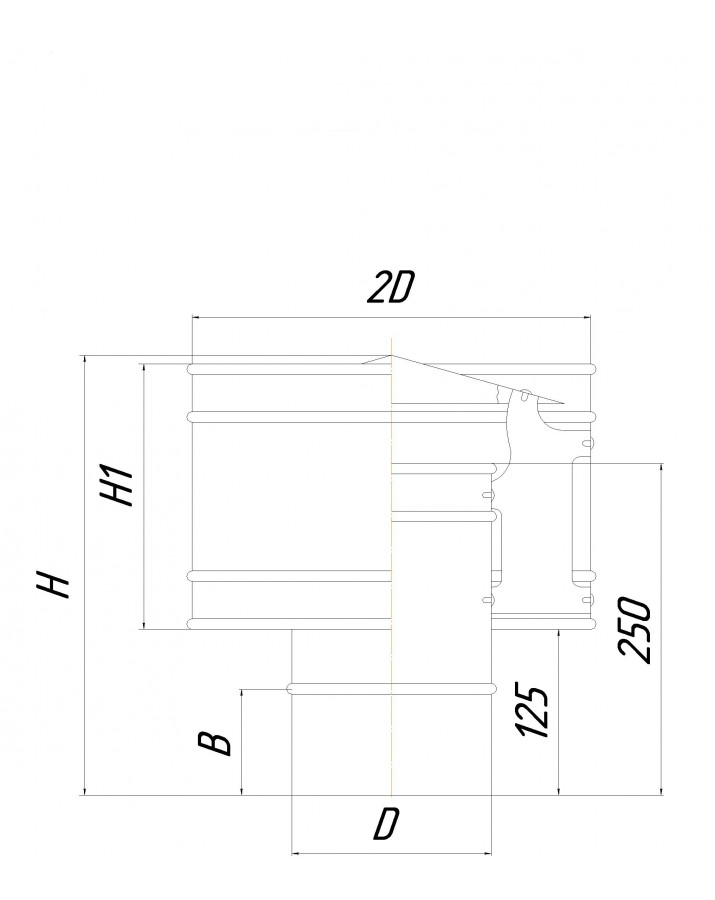 Single wall volper (Eco mono AISI 201) - diameter Ø100, thickness 0,5 mm